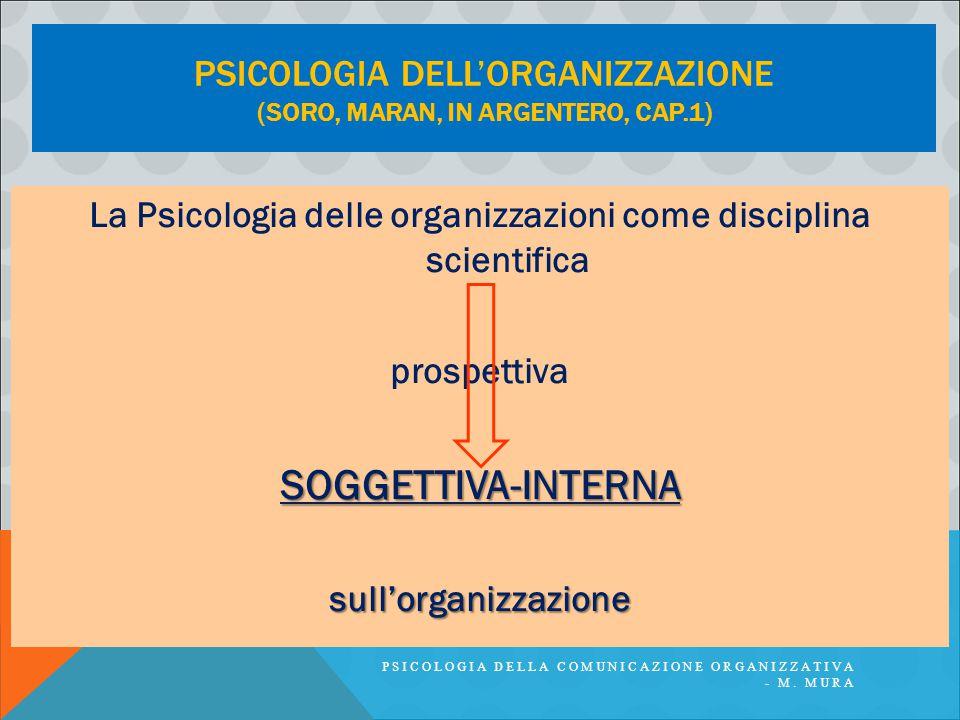PSICOLOGIA DELL'ORGANIZZAZIONE (SORO, MARAN, IN ARGENTERO, CAP.1) La Psicologia delle organizzazioni come disciplina scientifica prospettivaSOGGETTIVA