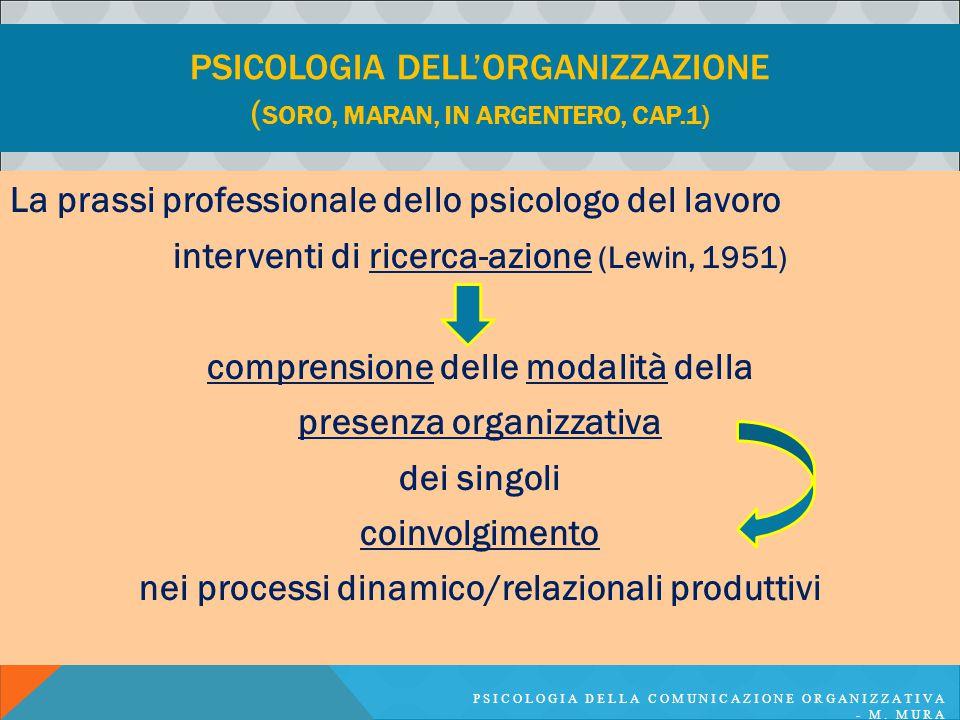 PSICOLOGIA DELL'ORGANIZZAZIONE ( SORO, MARAN, IN ARGENTERO, CAP.1) La prassi professionale dello psicologo del lavoro interventi di ricerca-azione (Le