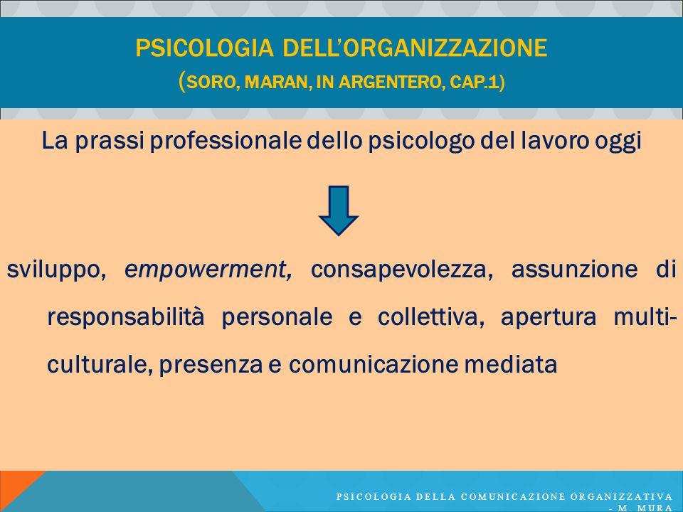 PSICOLOGIA DELLA COMUNICAZIONE ORGANIZZATIVA - M. MURA PSICOLOGIA DELL'ORGANIZZAZIONE ( SORO, MARAN, IN ARGENTERO, CAP.1) La prassi professionale dell
