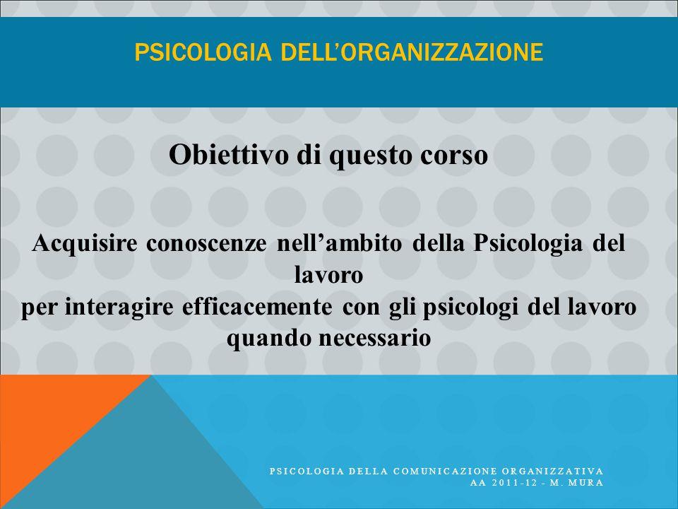 PSICOLOGIA DELLA COMUNICAZIONE ORGANIZZATIVA AA 2011-12 - M. MURA PSICOLOGIA DELL'ORGANIZZAZIONE Obiettivo di questo corso Acquisire conoscenze nell'a