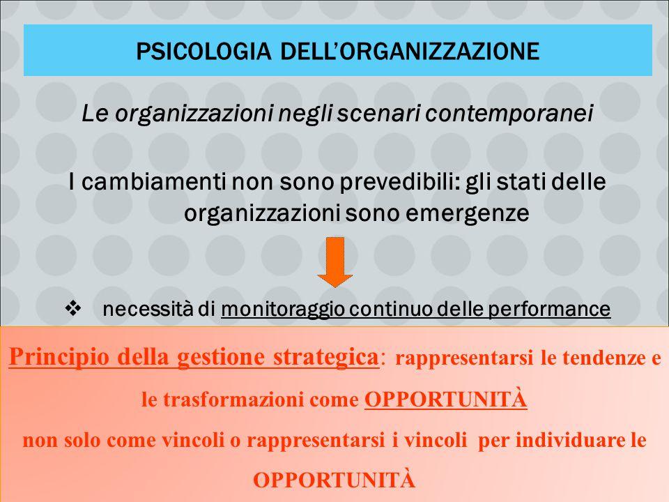 PSICOLOGIA DELL'ORGANIZZAZIONE Le organizzazioni negli scenari contemporanei I cambiamenti non sono prevedibili: gli stati delle organizzazioni sono e