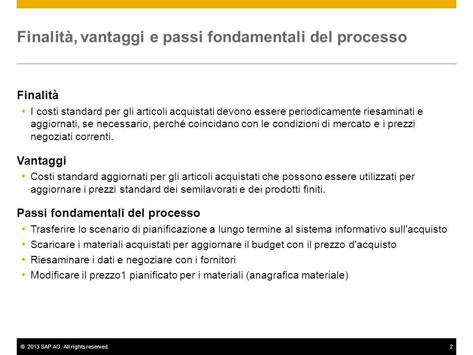 ©2013 SAP AG. All rights reserved.2 Finalità, vantaggi e passi fondamentali del processo Finalità  I costi standard per gli articoli acquistati devon
