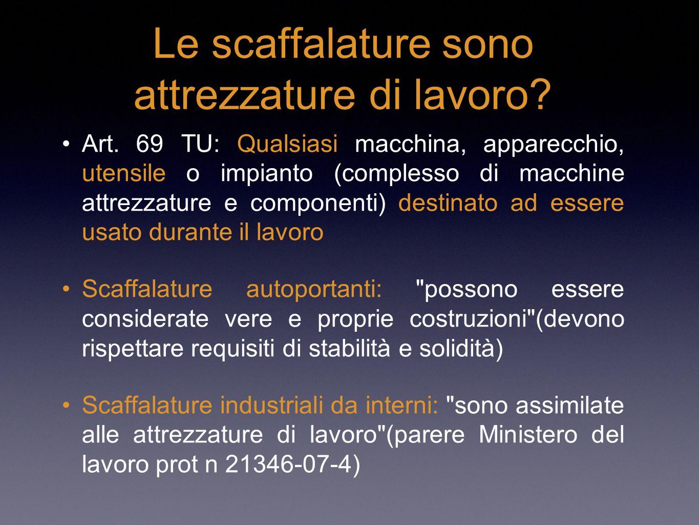Le scaffalature sono attrezzature di lavoro? Art. 69 TU: Qualsiasi macchina, apparecchio, utensile o impianto (complesso di macchine attrezzature e co