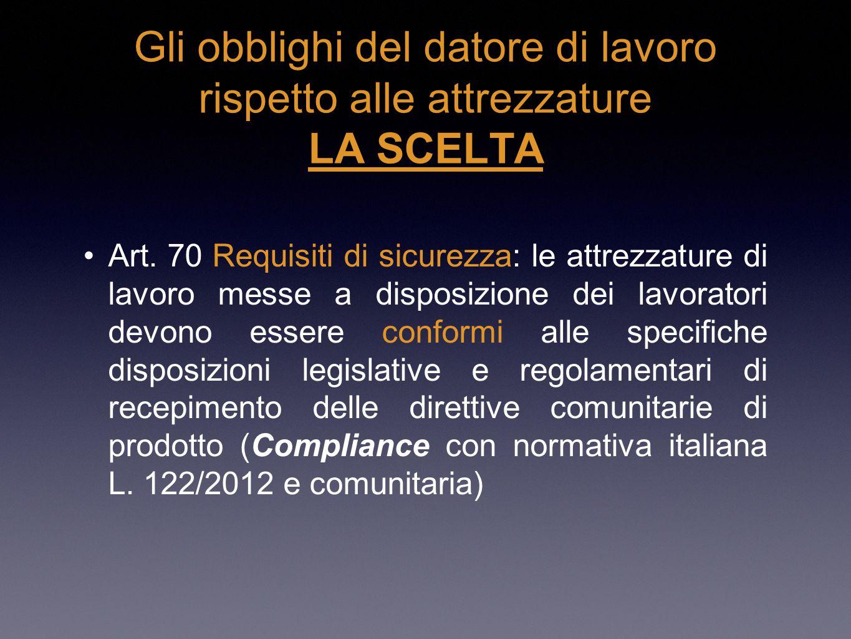Gli obblighi del datore di lavoro rispetto alle attrezzature LA SCELTA Art. 70 Requisiti di sicurezza: le attrezzature di lavoro messe a disposizione