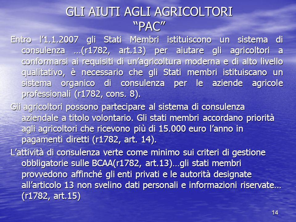 14 GLI AIUTI AGLI AGRICOLTORI PAC Entro l'1.1.2007 gli Stati Membri istituiscono un sistema di consulenza …(r1782, art.13) per aiutare gli agricoltori a conformarsi ai requisiti di un'agricoltura moderna e di alto livello qualitativo, è necessario che gli Stati membri istituiscano un sistema organico di consulenza per le aziende agricole professionali (r1782, cons.