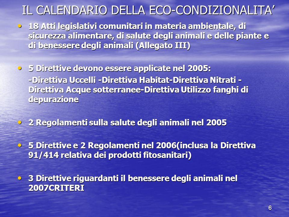 6 IL CALENDARIO DELLA ECO-CONDIZIONALITA' 18 Atti legislativi comunitari in materia ambientale, di sicurezza alimentare, di salute degli animali e delle piante e di benessere degli animali (Allegato III) 18 Atti legislativi comunitari in materia ambientale, di sicurezza alimentare, di salute degli animali e delle piante e di benessere degli animali (Allegato III) 5 Direttive devono essere applicate nel 2005: 5 Direttive devono essere applicate nel 2005: -Direttiva Uccelli -Direttiva Habitat-Direttiva Nitrati - Direttiva Acque sotterranee-Direttiva Utilizzo fanghi di depurazione 2 Regolamenti sulla salute degli animali nel 2005 2 Regolamenti sulla salute degli animali nel 2005 5 Direttive e 2 Regolamenti nel 2006(inclusa la Direttiva 91/414 relativa dei prodotti fitosanitari) 5 Direttive e 2 Regolamenti nel 2006(inclusa la Direttiva 91/414 relativa dei prodotti fitosanitari) 3 Direttive riguardanti il benessere degli animali nel 2007CRITERI 3 Direttive riguardanti il benessere degli animali nel 2007CRITERI