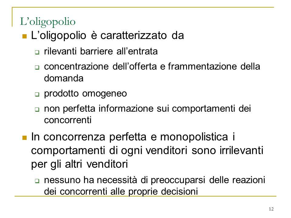 12 L'oligopolio L'oligopolio è caratterizzato da  rilevanti barriere all'entrata  concentrazione dell'offerta e frammentazione della domanda  prodo