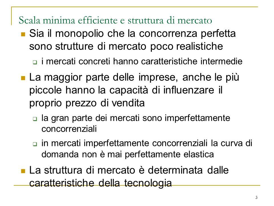 3 Scala minima efficiente e struttura di mercato Sia il monopolio che la concorrenza perfetta sono strutture di mercato poco realistiche  i mercati c