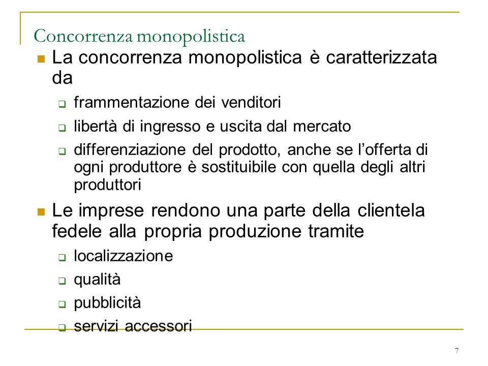 7 Concorrenza monopolistica La concorrenza monopolistica è caratterizzata da  frammentazione dei venditori  libertà di ingresso e uscita dal mercato