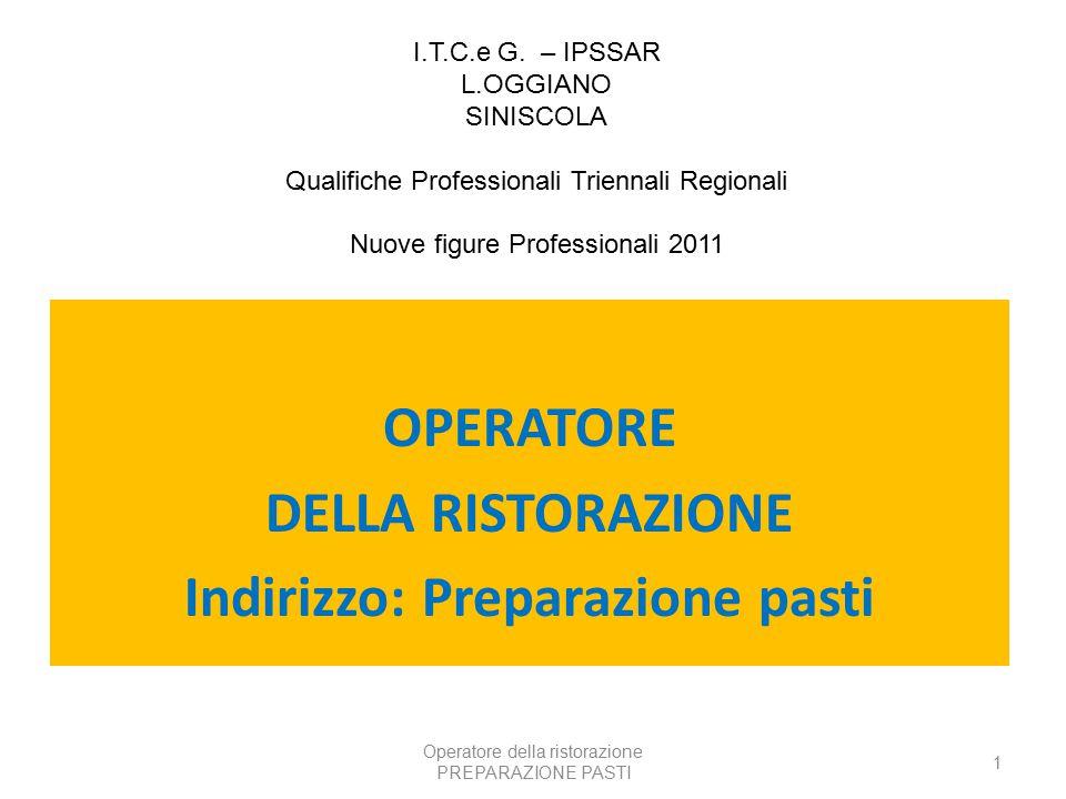 Operatore della ristorazione PREPARAZIONE PASTI 1 OPERATORE DELLA RISTORAZIONE Indirizzo: Preparazione pasti I.T.C.e G.