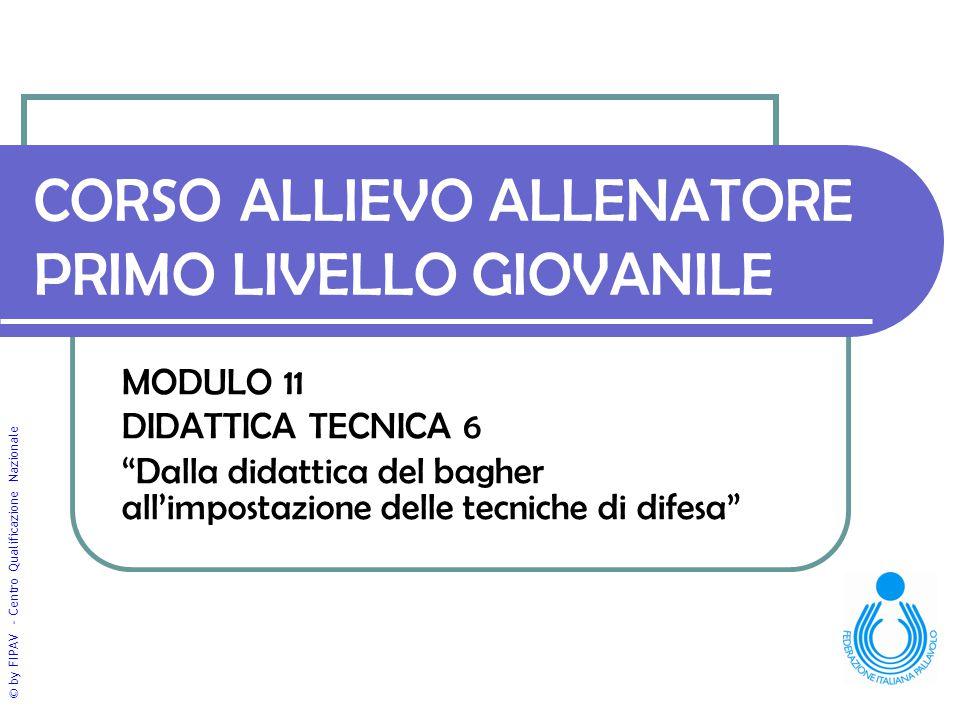 """© by FIPAV - Centro Qualificazione Nazionale CORSO ALLIEVO ALLENATORE PRIMO LIVELLO GIOVANILE MODULO 11 DIDATTICA TECNICA 6 """"Dalla didattica del baghe"""
