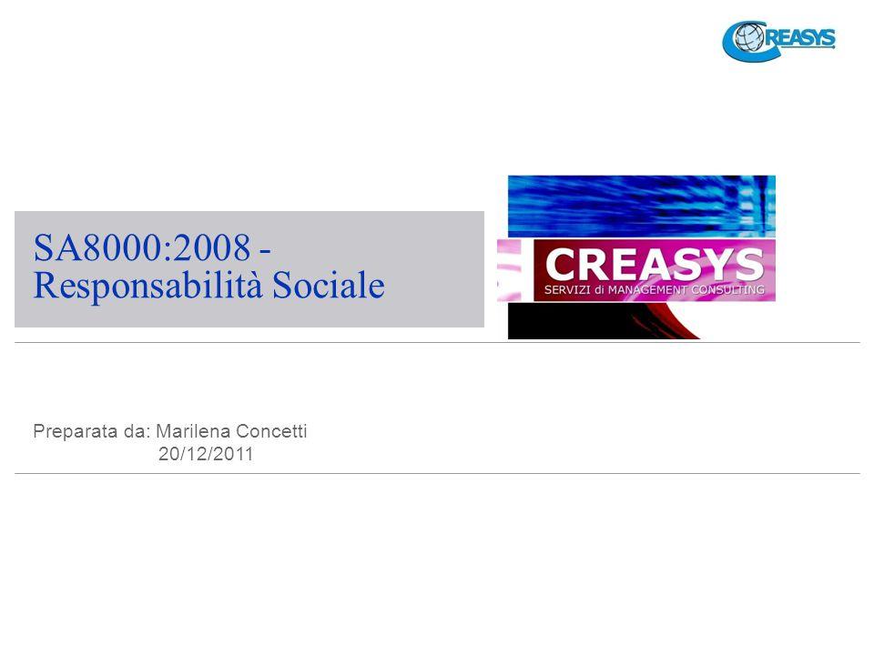Iter della SA8000 SA 8000 è stata elaborata dal SAI (Social Accountability International) e da altre organizzazioni (Amnesty Internationa, Avon, Reebok etc) Il SAI è stato costituito il 15 Ottobre del 1997 con lo scopo di: accreditare gli Organismi di certificazione; svolgere il monitoraggio sulle attività svolte dagli Organismi di certificazione; riesaminare e risolvere reclami su Organismi di certificazione e auditors; conservare una lista di Organismi accreditati e Aziende Certificate.