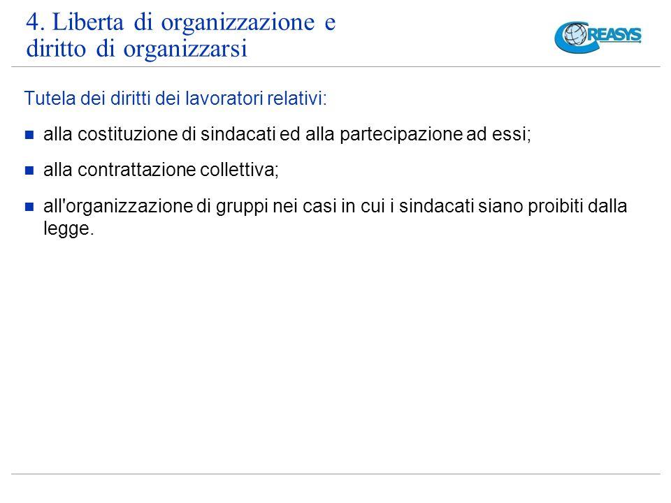4. Liberta di organizzazione e diritto di organizzarsi Tutela dei diritti dei lavoratori relativi: alla costituzione di sindacati ed alla partecipazio