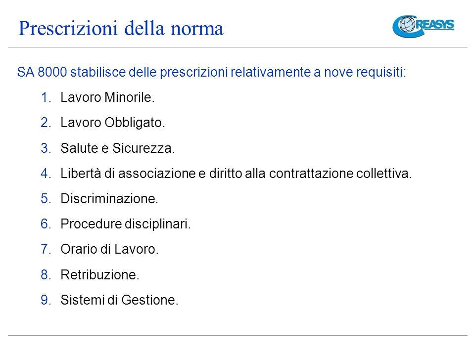 Prescrizioni della norma SA 8000 stabilisce delle prescrizioni relativamente a nove requisiti: 1.Lavoro Minorile.