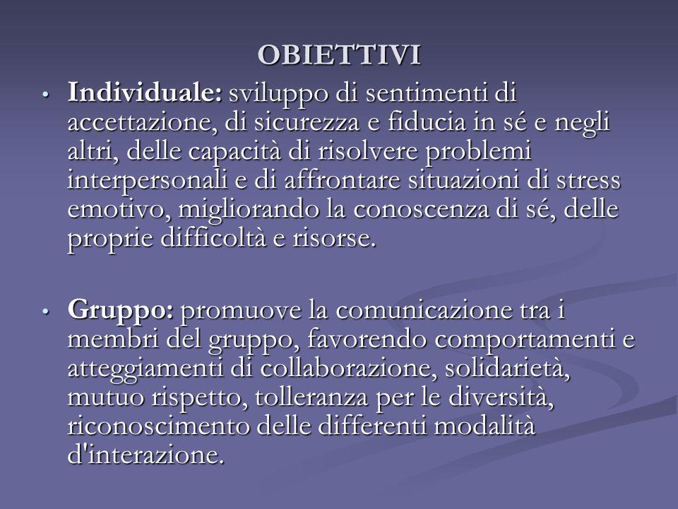 OBIETTIVI Individuale: sviluppo di sentimenti di accettazione, di sicurezza e fiducia in sé e negli altri, delle capacità di risolvere problemi interp