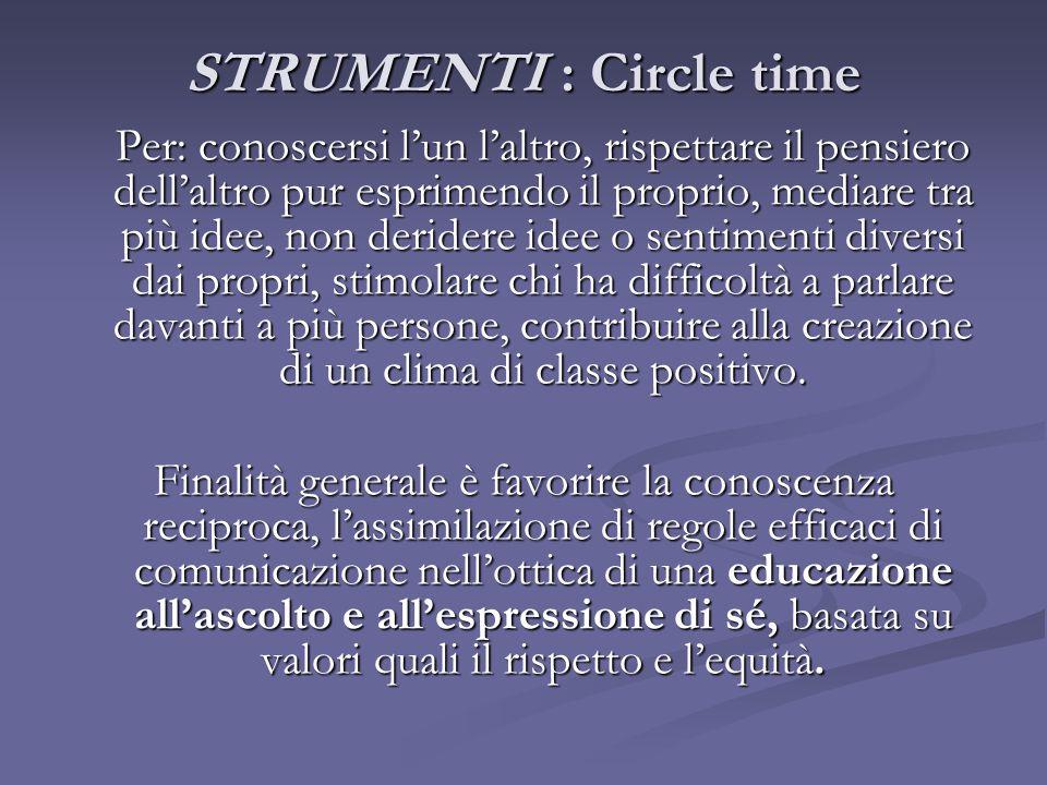 STRUMENTI : Circle time Per: conoscersi l'un l'altro, rispettare il pensiero dell'altro pur esprimendo il proprio, mediare tra più idee, non deridere