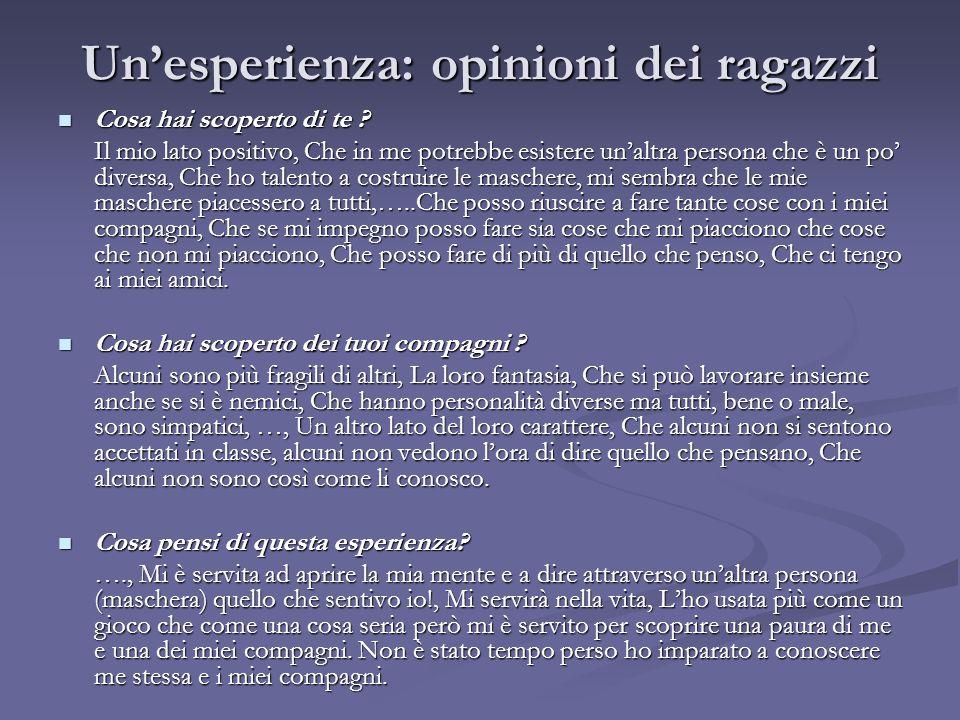 Un'esperienza: opinioni dei ragazzi Cosa hai scoperto di te ? Cosa hai scoperto di te ? Il mio lato positivo, Che in me potrebbe esistere un'altra per