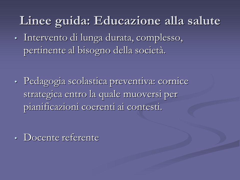 Linee guida: Educazione alla salute Intervento di lunga durata, complesso, pertinente al bisogno della società. Intervento di lunga durata, complesso,