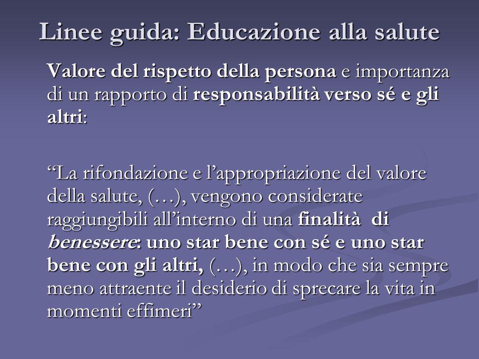 """Linee guida: Educazione alla salute Valore del rispetto della persona e importanza di un rapporto di responsabilità verso sé e gli altri: """"La rifondaz"""