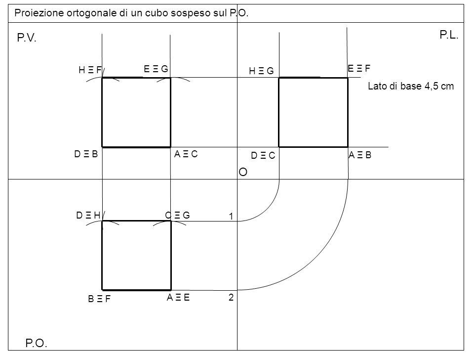 P.O. P.V. P.L. Proiezione ortogonale di un cubo sospeso sul P.O. Lato di base 4,5 cm A Ξ E B Ξ F C Ξ GD Ξ H A Ξ C E Ξ G D Ξ B H Ξ F 1 2 O A Ξ B D Ξ C
