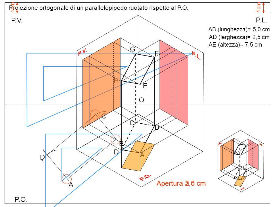 P.O. P.V. P.L. Proiezione ortogonale di un parallelepipedo ruotato rispetto al P.O. 1cm AB (lunghezza)= 5,0 cm AD (larghezza)= 2,5 cm AE (altezza)= 7,