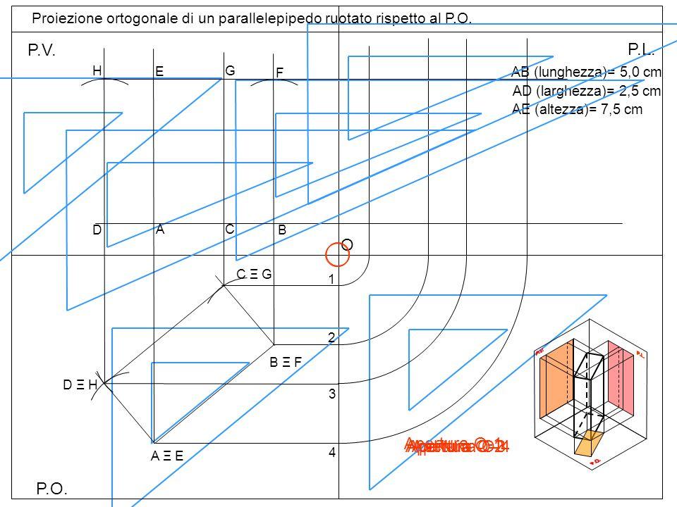 P.O. P.V. P.L. Proiezione ortogonale di un parallelepipedo ruotato rispetto al P.O. AB (lunghezza)= 5,0 cm AD (larghezza)= 2,5 cm AE (altezza)= 7,5 cm