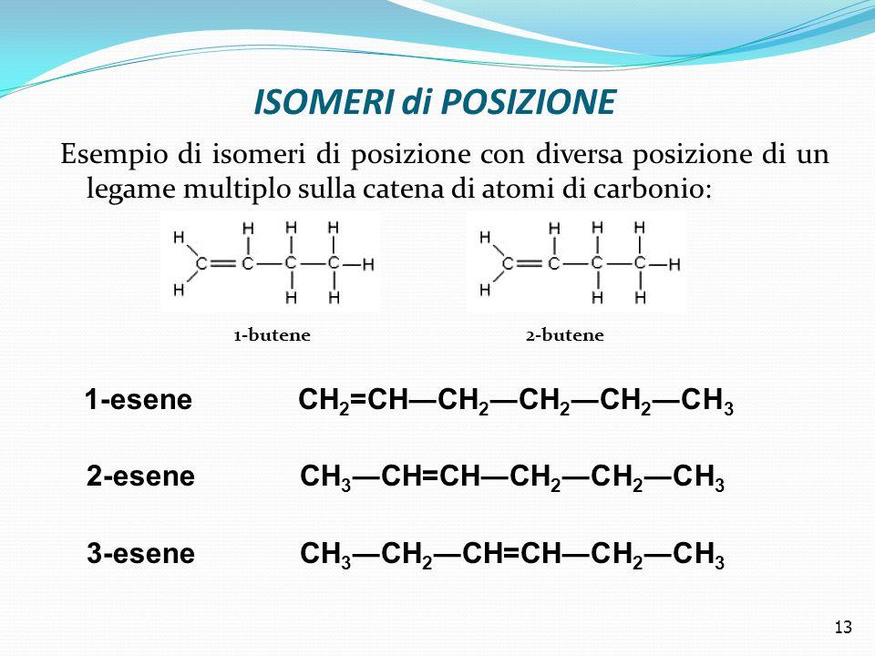 ISOMERI di POSIZIONE Esempio di isomeri di posizione con diversa posizione di un legame multiplo sulla catena di atomi di carbonio: 1-butene 2-butene 1-esene CH 2 =CH―CH 2 ―CH 2 ―CH 2 ―CH 3 2-esene CH 3 ―CH=CH―CH 2 ―CH 2 ―CH 3 3-esene CH 3 ―CH 2 ―CH=CH―CH 2 ―CH 3 13