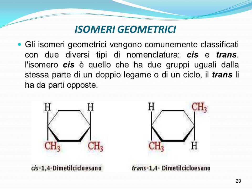 ISOMERI GEOMETRICI Gli isomeri geometrici vengono comunemente classificati con due diversi tipi di nomenclatura: cis e trans.