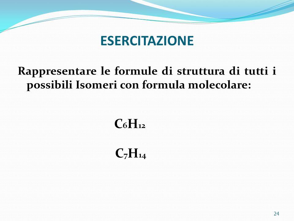 ESERCITAZIONE 24 Rappresentare le formule di struttura di tutti i possibili Isomeri con formula molecolare: C 6 H 12 C 7 H 14