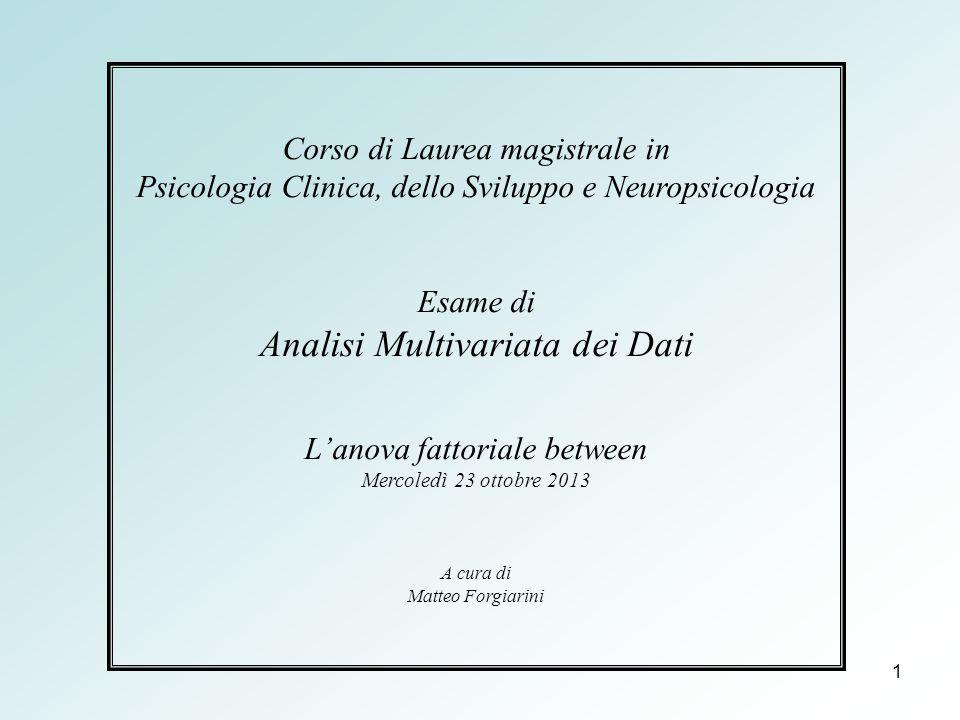 1 Corso di Laurea magistrale in Psicologia Clinica, dello Sviluppo e Neuropsicologia Esame di Analisi Multivariata dei Dati L'anova fattoriale between