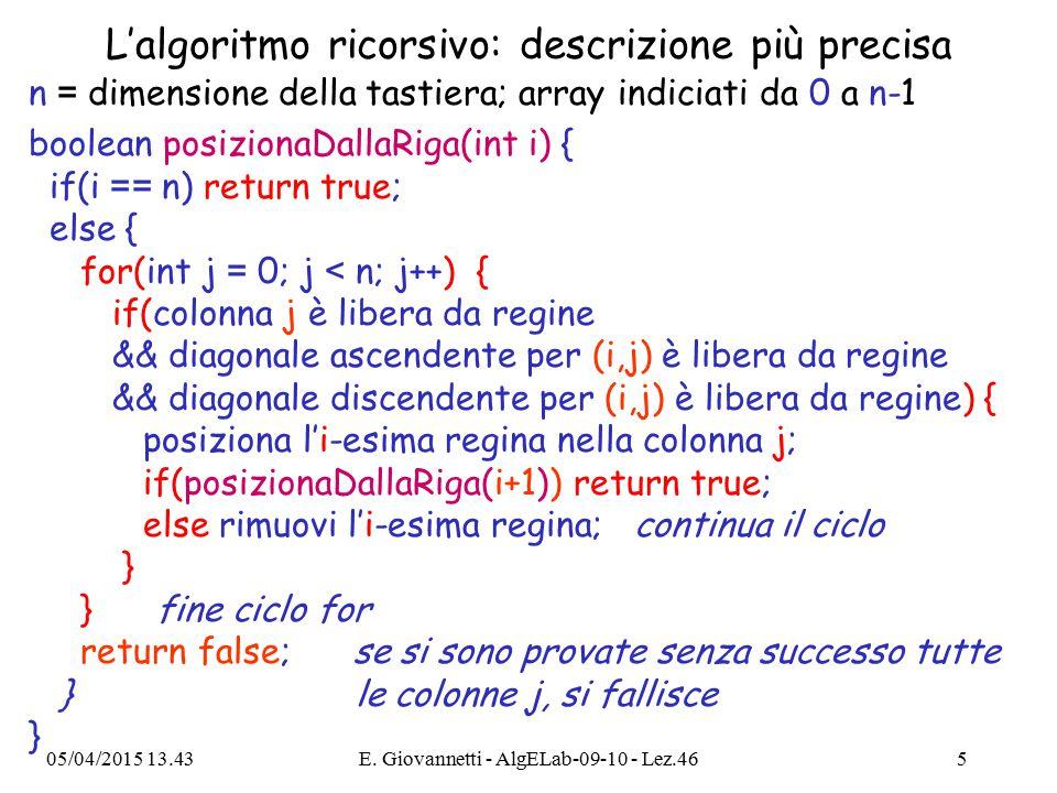 L'algoritmo ricorsivo: descrizione più precisa n = dimensione della tastiera; array indiciati da 0 a n-1 boolean posizionaDallaRiga(int i) { if(i == n) return true; else { for(int j = 0; j < n; j++) { if(colonna j è libera da regine && diagonale ascendente per (i,j) è libera da regine && diagonale discendente per (i,j) è libera da regine) { posiziona l'i-esima regina nella colonna j; if(posizionaDallaRiga(i+1)) return true; else rimuovi l'i-esima regina; continua il ciclo } } fine ciclo for return false; se si sono provate senza successo tutte } le colonne j, si fallisce } 05/04/2015 13.44E.