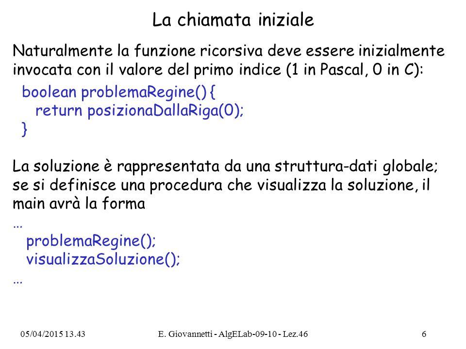La chiamata iniziale Naturalmente la funzione ricorsiva deve essere inizialmente invocata con il valore del primo indice (1 in Pascal, 0 in C): boolean problemaRegine() { return posizionaDallaRiga(0); } La soluzione è rappresentata da una struttura-dati globale; se si definisce una procedura che visualizza la soluzione, il main avrà la forma … problemaRegine(); visualizzaSoluzione(); … 05/04/2015 13.44E.