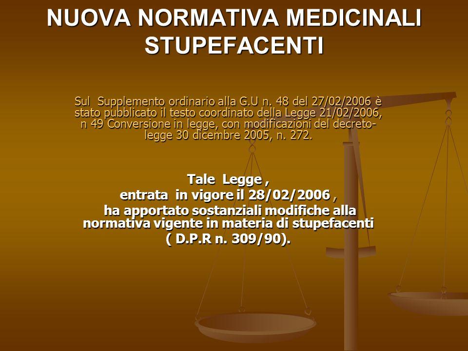NUOVA NORMATIVA MEDICINALI STUPEFACENTI Sul Supplemento ordinario alla G.U n. 48 del 27/02/2006 è stato pubblicato il testo coordinato della Legge 21/