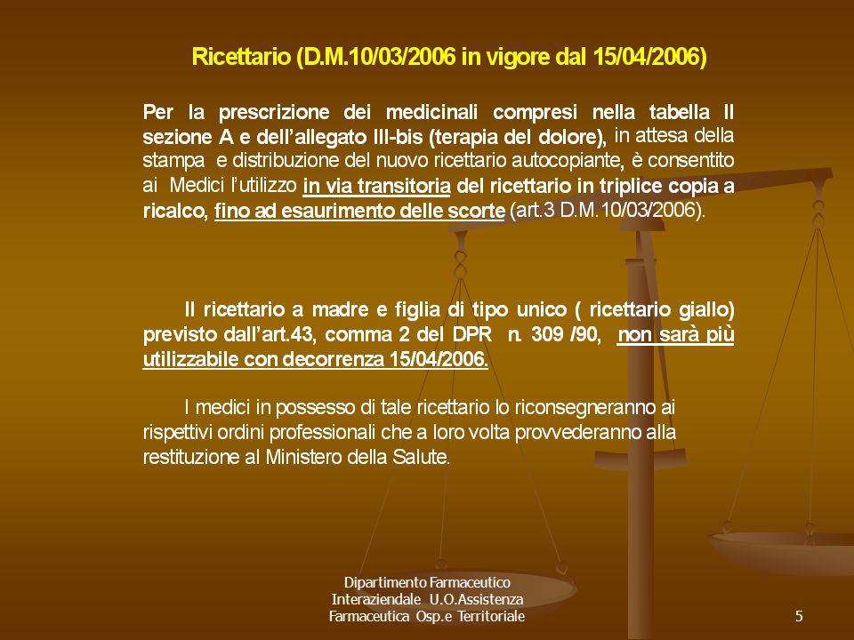 Dipartimento Farmaceutico Interaziendale U.O.Assistenza Farmaceutica Osp.e Territoriale5