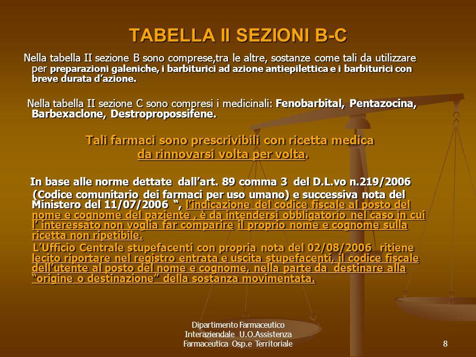 Dipartimento Farmaceutico Interaziendale U.O.Assistenza Farmaceutica Osp.e Territoriale8 TABELLA II SEZIONI B-C Nella tabella II sezione B sono compre