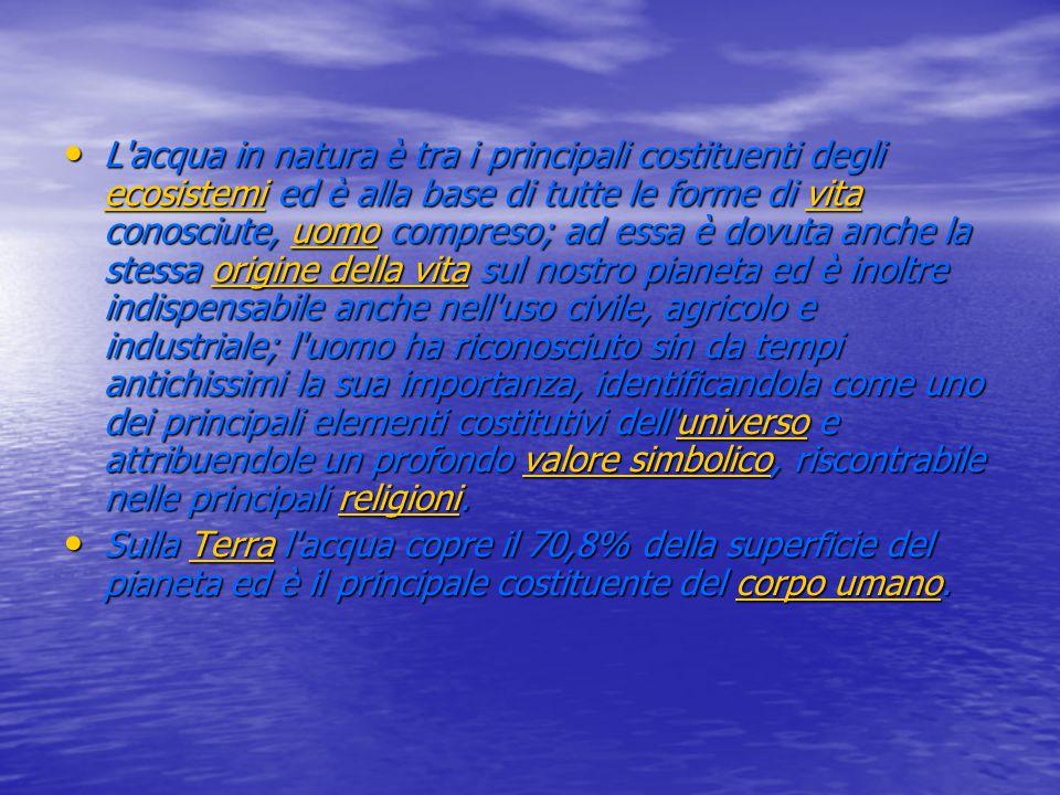 L'acqua in natura è tra i principali costituenti degli ecosistemi ed è alla base di tutte le forme di vita conosciute, uomo compreso; ad essa è dovuta