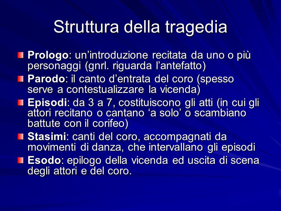 Struttura della tragedia Prologo: un'introduzione recitata da uno o più personaggi (gnrl. riguarda l'antefatto) Parodo: il canto d'entrata del coro (s