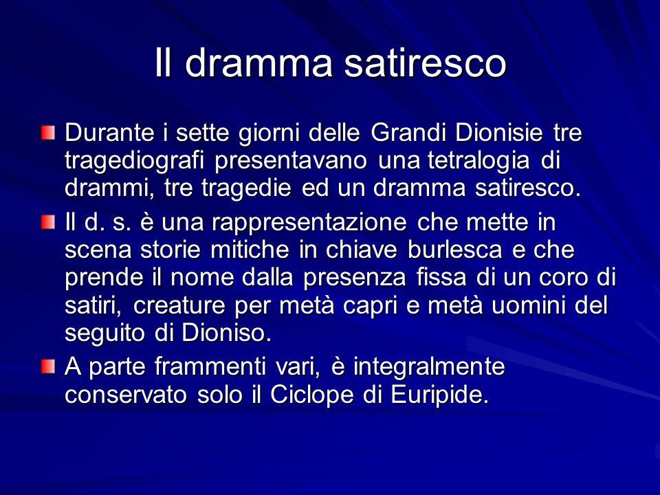 Il dramma satiresco Durante i sette giorni delle Grandi Dionisie tre tragediografi presentavano una tetralogia di drammi, tre tragedie ed un dramma satiresco.