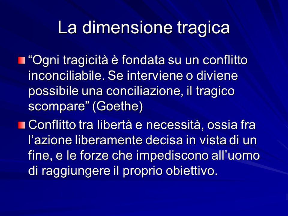 La dimensione tragica Ogni tragicità è fondata su un conflitto inconciliabile.