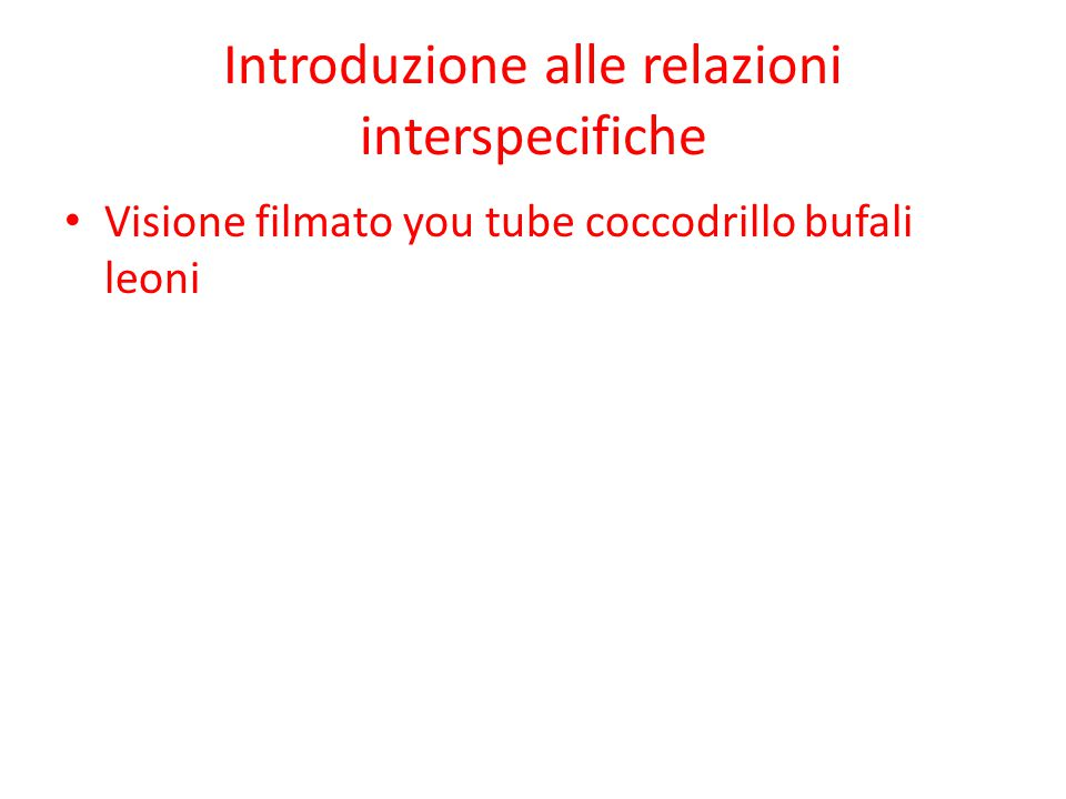 Introduzione alle relazioni interspecifiche Visione filmato you tube coccodrillo bufali leoni