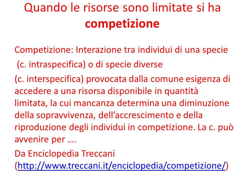 Quando le risorse sono limitate si ha competizione Competizione: Interazione tra individui di una specie (c. intraspecifica) o di specie diverse (c. i