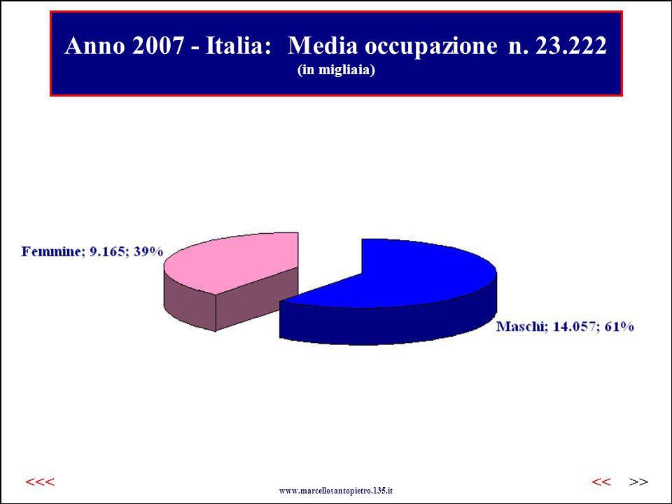 Anno 2007 - Italia: Media occupazione n.