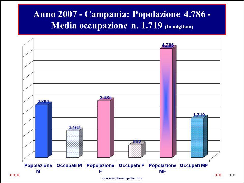 Anno 2007 - Campania: Popolazione 4.786 - Media occupazione n.