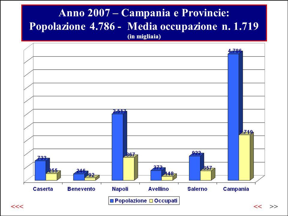 Anno 2007 – Campania e Provincie: Popolazione 4.786 - Media occupazione n.