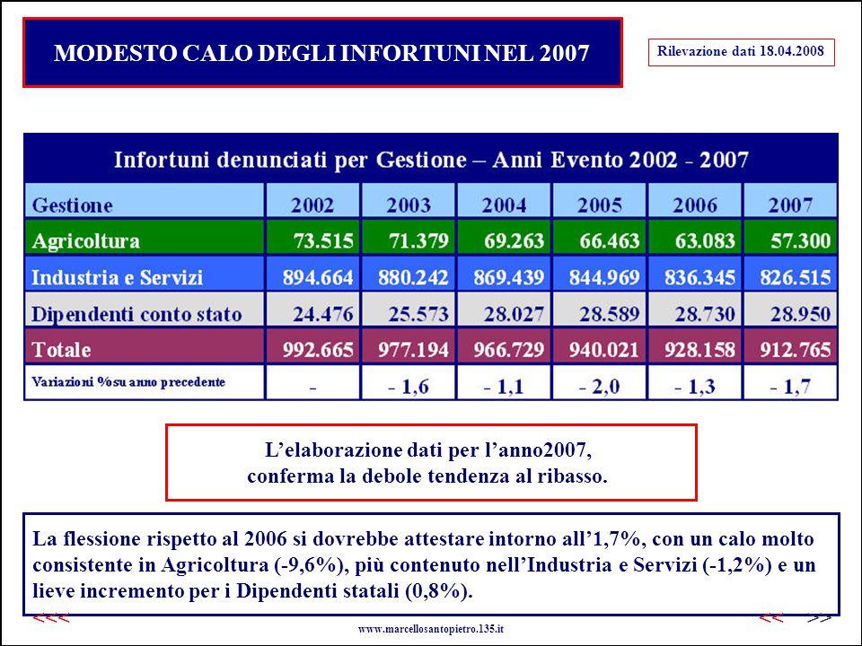 MODESTO CALO DEGLI INFORTUNI NEL 2007 L'elaborazione dati per l'anno2007, conferma la debole tendenza al ribasso.