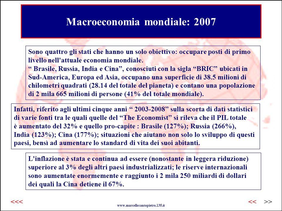 Macroeconomia mondiale: 2007 Sono quattro gli stati che hanno un solo obiettivo: occupare posti di primo livello nell attuale economia mondiale.