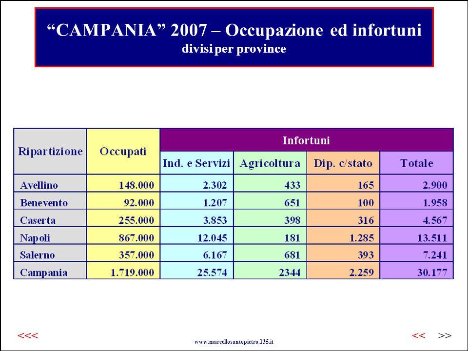 CAMPANIA 2007 – Occupazione ed infortuni divisi per province www.marcellosantopietro.135.it >><<<<<
