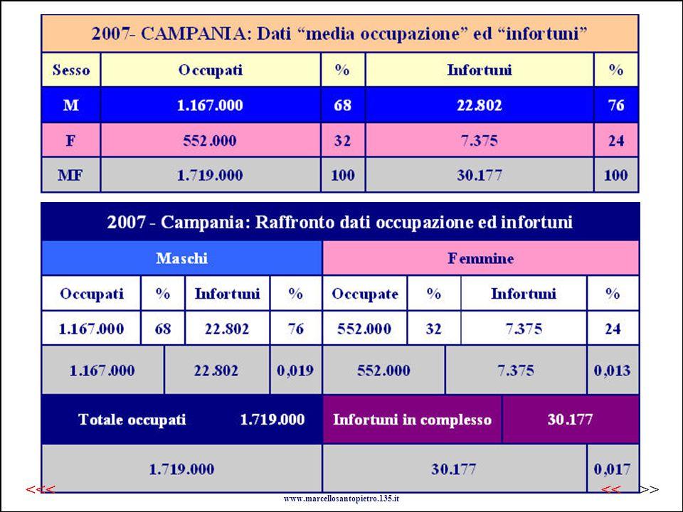 2007 - Campania: dati a raffronto www.marcellosantopietro.135.it >><<<<<