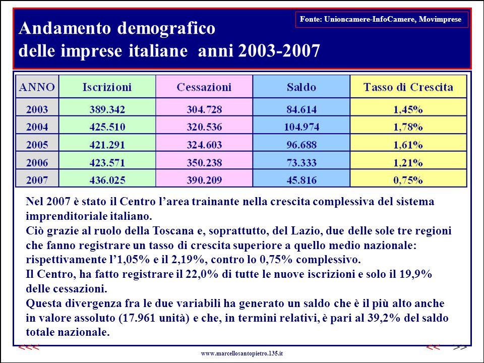 Andamento demografico delle imprese italiane anni 2003-2007 Fonte: Unioncamere-InfoCamere, Movimprese Nel 2007 è stato il Centro l'area trainante nella crescita complessiva del sistema imprenditoriale italiano.