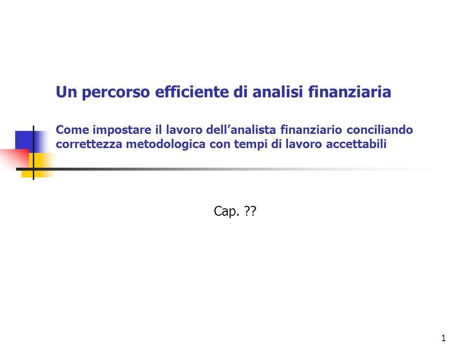 1 Un percorso efficiente di analisi finanziaria Come impostare il lavoro dell'analista finanziario conciliando correttezza metodologica con tempi di lavoro accettabili Cap.